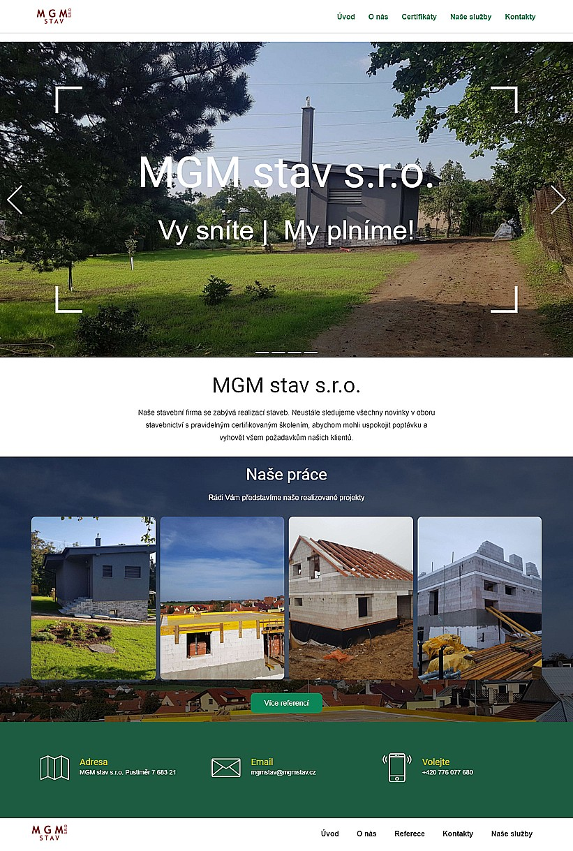 Webové stránky pro stavební firmu